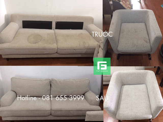 Trước và sau khi giặt ghế sofa