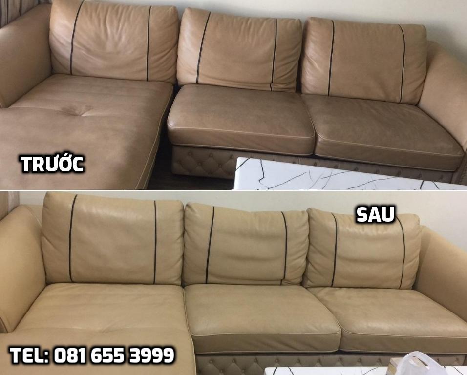 Trước và sau khi vệ sinh ghế sofa da